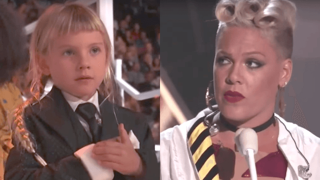 Pink responds to her 6-year-old calling herself 'ugly' in emotional VMA's speech.
