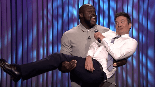 Shaquille O'Neal and Jimmy Fallon had a weirdly sexual lip sync battle.