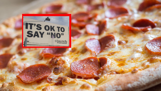 Pizza shop has perfect response to anti-gay marriage billboard. Twitter is here for it.