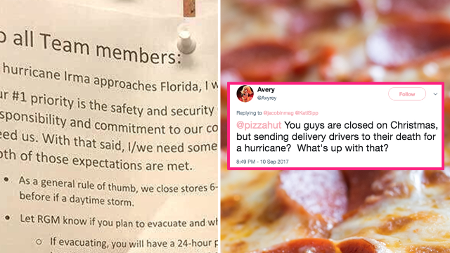 Pizza Hut manager posts awful note threatening employees fleeing Irma. No one took his side.