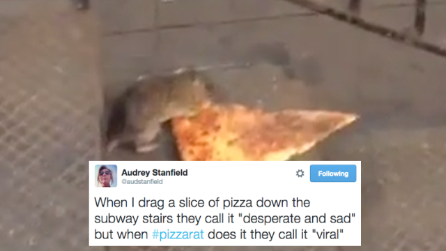 This rat carrying a slice of pizza into the subway is the most New York thing to ever happen.