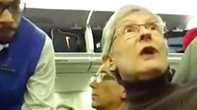 Watch a plane full of passengers cheer when a woman is kicked off for berating a Trump supporter.