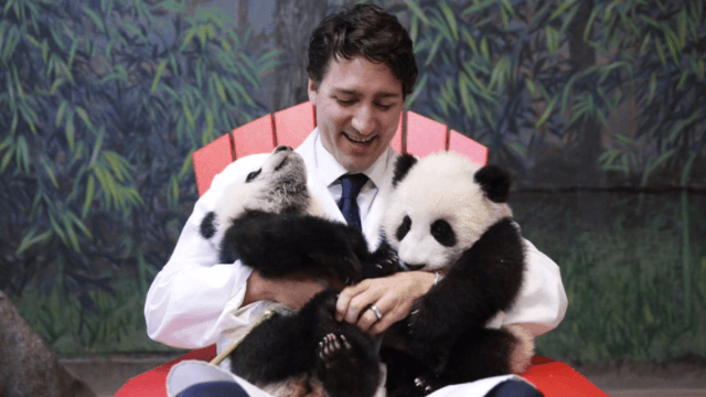 Please feast your eyes on this butter sculpture of Justin Trudeau holding pandas.