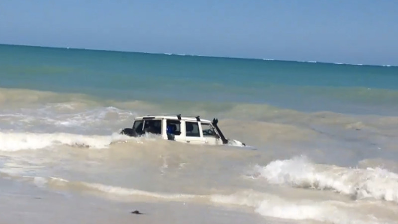 This smarty took a police chase to its ultimate end: driving into the ocean.