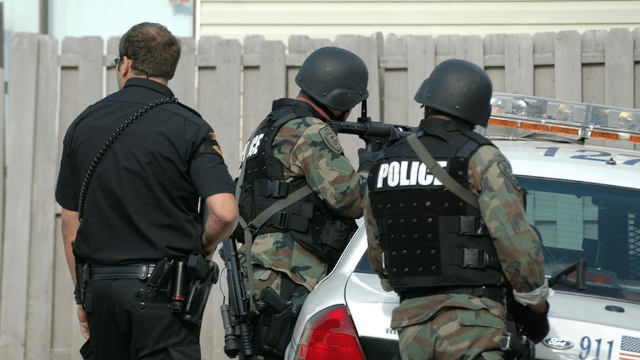 Police engaged in an 11-hour standoff with an empty house.