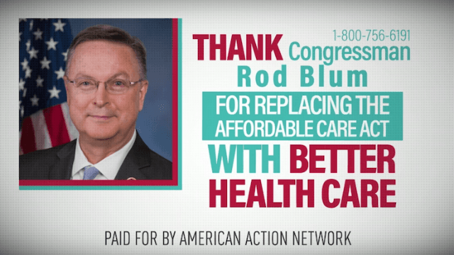 Political ads thank Republicans for replacing Obamacare just hours after they failed to do so.