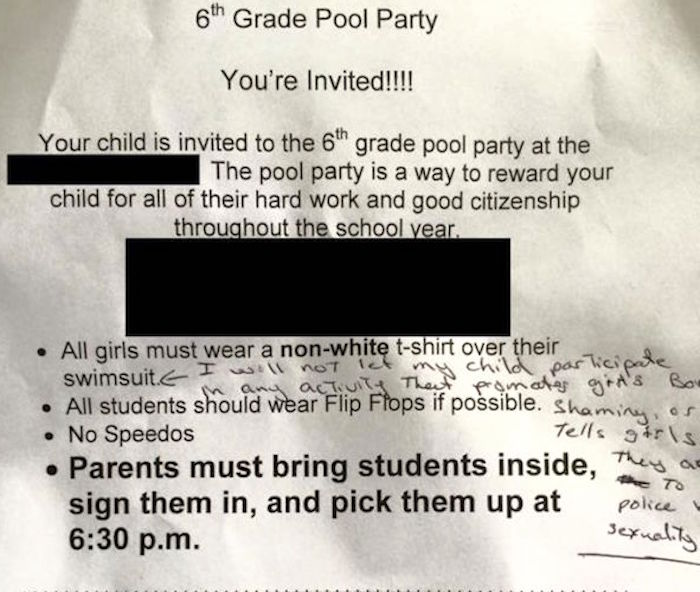 This mom was horrified by the dress code for girls on a 6th grade pool party invitation.