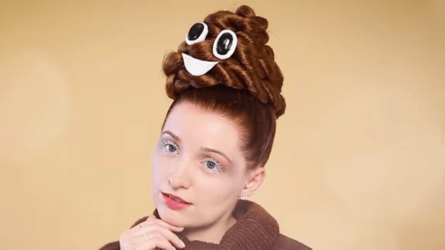 Check out this crappy tutorial for poop emoji hair.