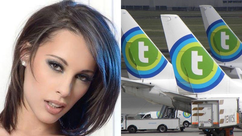 A porn star was creeped on by an airline after she asked them about flight times.
