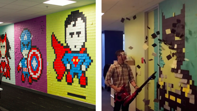 What's more fun than decorating your office with Post-Its? Undecorating it with a leafblower.