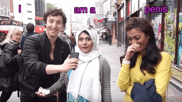 Sneaky prankster tricks Londoners into screaming something obscene.