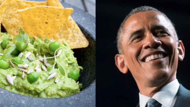 President Obama defends nation on Twitter against New York Times' unpatriotic pea-filled guacamole.