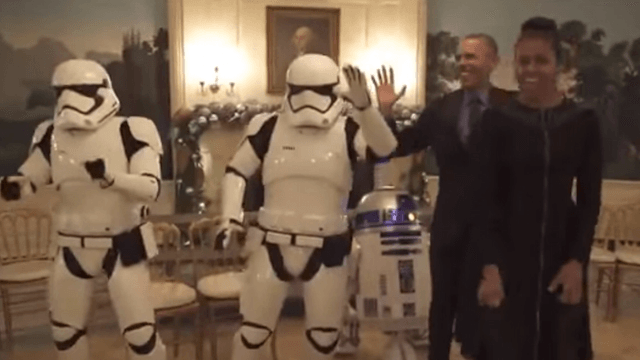 The Obamas danced with stormtroopers, who were almost as awkward at dancing as Barack.