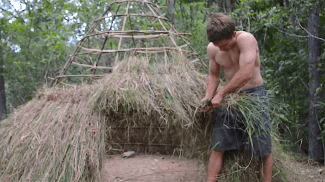 Relax and watch the shirtless, wordless star of Primitive Technology build a grass hut.
