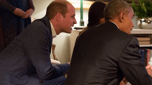 Prince George met the Obamas while wearing a bathrobe, because he can do whatever he wants.