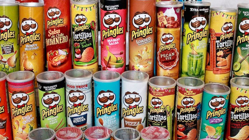 Pringles-themed birthday party gives lucky husband chance to try dozens of flavors.