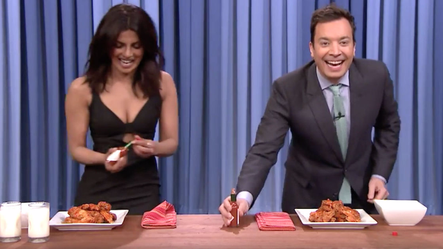 Priyanka Chopra destroys Jimmy Fallon in a wing-eating contest, but the real winner is clearly Atomic Wings.