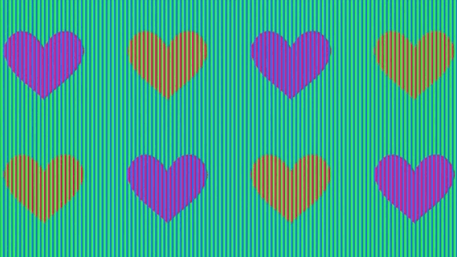 These hearts are the same color. Fair warning, trying to solve this illusion will hurt your eyes.