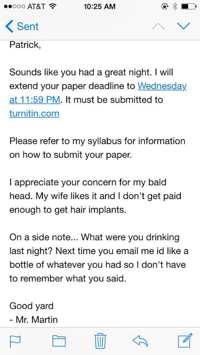 This professor had the best response to an e-mail from a drunk student.