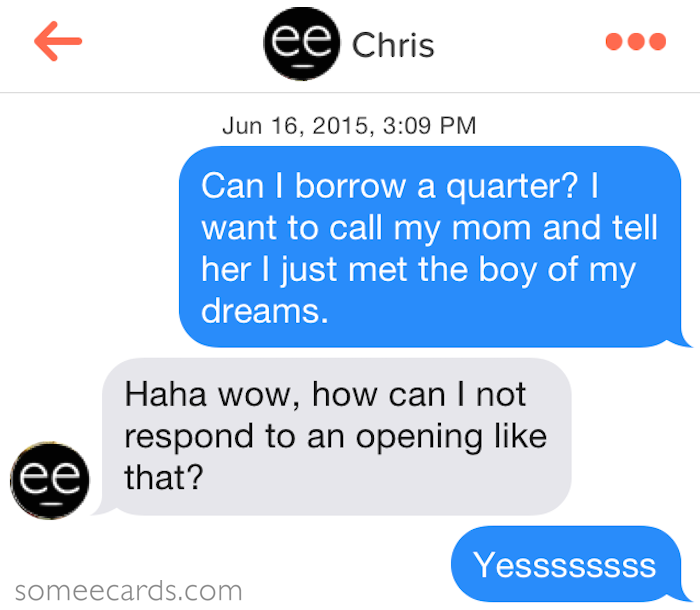 heres what happens when guys are confronted with their own cheesy pickup lines on tinder