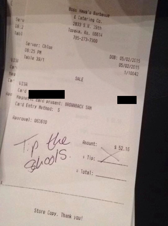 A Kansas waitress refused to accept a tip from the governor, and suggested he do this with his money instead.