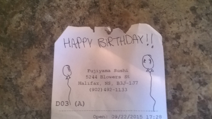Lonely guy eating sushi alone on his birthday gets treated to weird-looking but sweet surprise.