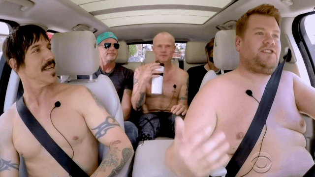 James Corden gave the Red Hot Chili Peppers a ride, including a necessary wrestle session.