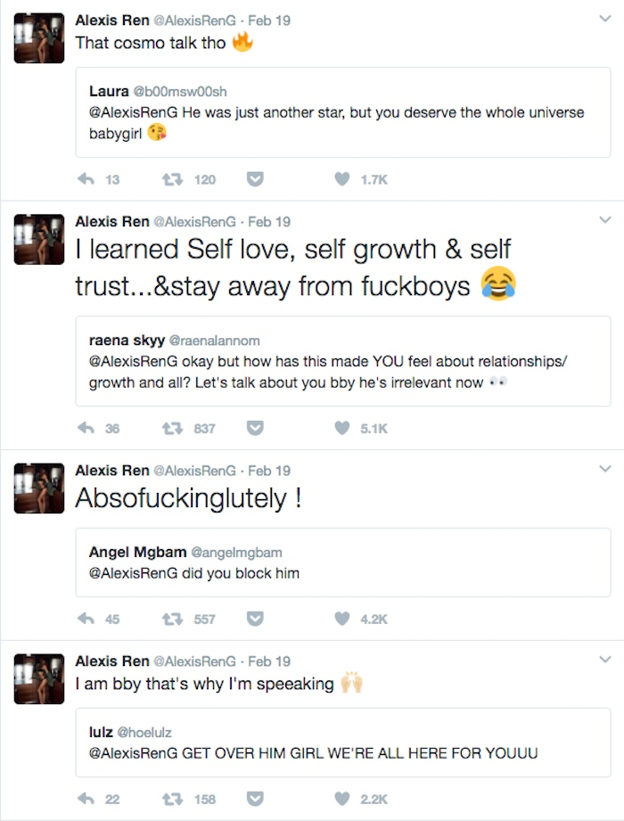 Instagram model Alexis Ren burns ex-boyfriend (and his penis) in intensely personal Twitter rant.