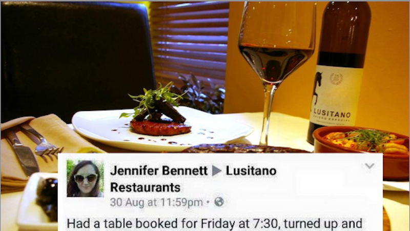 A woman complained on a restaurant's Facebook page, and they let her know exactly how sorry they weren't.