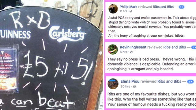 Restaurant's apology makes it worse after unbelievably offensive domestic violence joke.