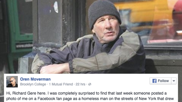 The real Richard Gere responded in a super weird way to that fake viral photo of him as a homeless man.