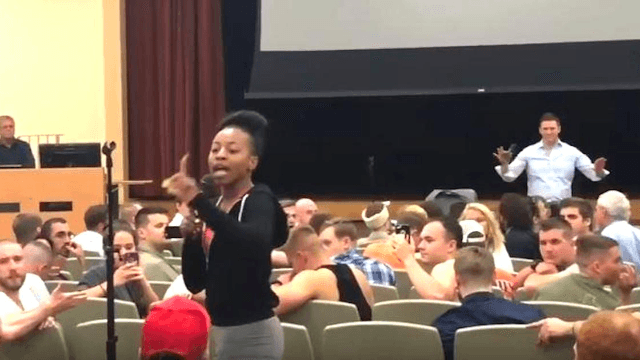 Black college student takes down nazi speaking at her school with two simple questions.