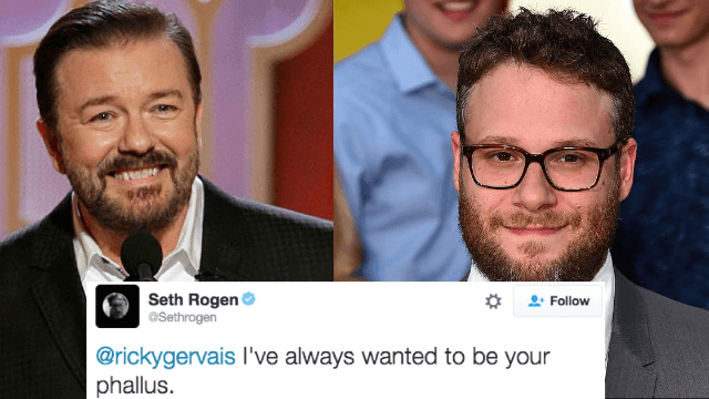 Ricky Gervais and Seth Rogen had a hilariously immature Twitter conversation about their sausages.