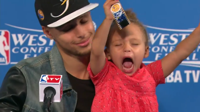 2-year-old Riley Curry returns, is still the best thing to ever happen to NBA post-game press conferences.