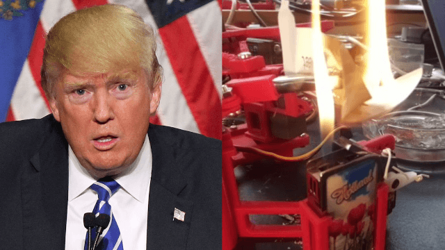 A true genius built a robot to literally burn Trump where it hurts him the most.