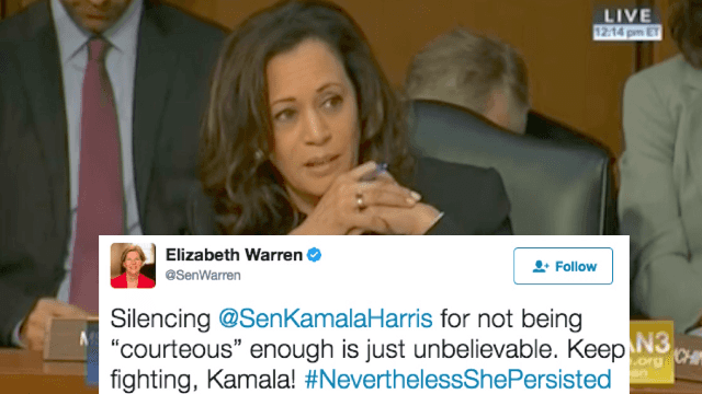 Two male senators tried to silence a female senator and Twitter is not having it.