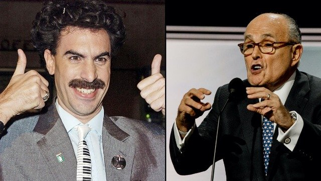 People react to Rudy Giuliani being caught in 'compromising' positions in new Borat film.