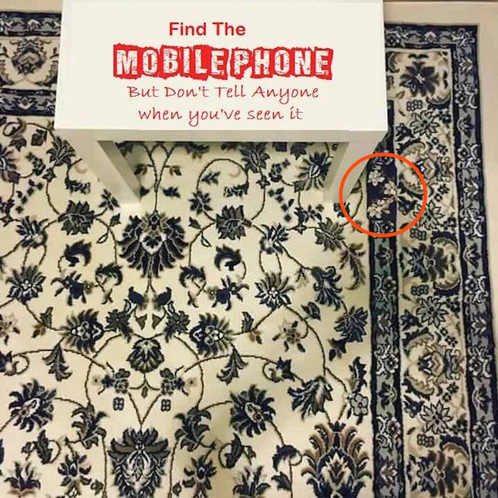 People are going crazy trying to find the cell phone camouflaged against this rug.