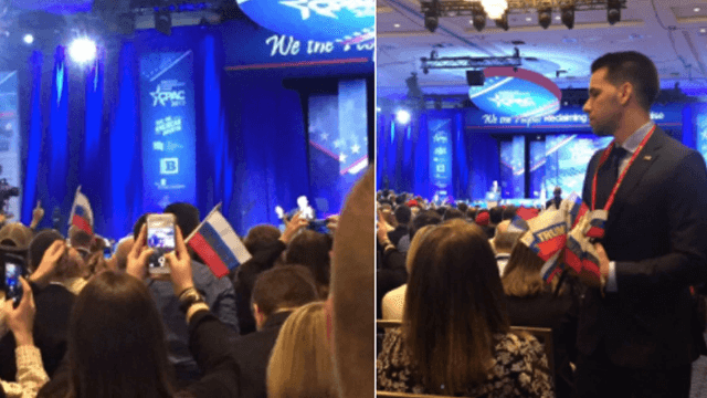 People were waving Russian flags at Trump's CPAC speech.