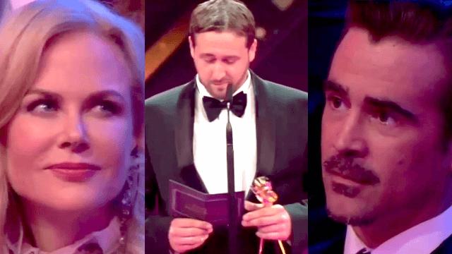 Real celebrities stunned when Ryan Gosling look-alike accepts award in elaborate prank.