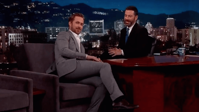 Ryan Gosling accidentally wore a super tight suit on 'Kimmel.' Yeah, 'accidentally.'