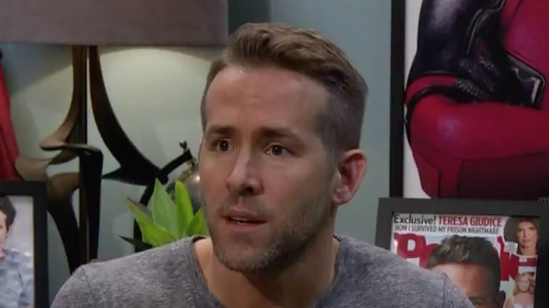 Ryan Reynolds patiently and attractively allows James Corden to audition for Deadpool's sidekick.