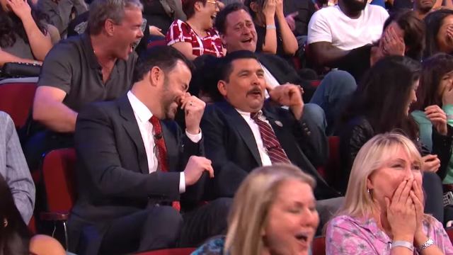 Jimmy Kimmel's audience reacted hilariously to the most graphic scene in Sacha Baron Cohen's new movie.