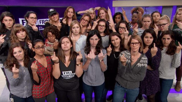 Samantha Bee's female staff members joined her in giving Trump the finger for his attitude toward women.