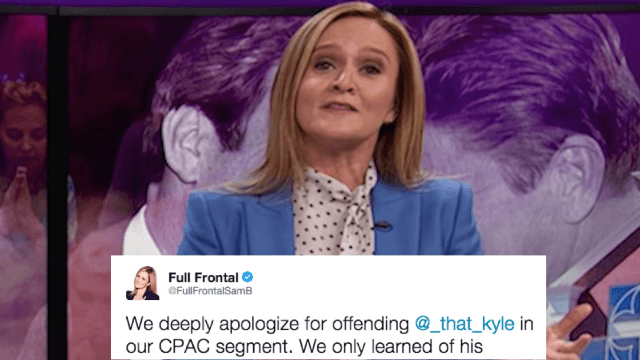 Samantha Bee's show apologizes for calling a guy 'Nazi hair' without realizing he has cancer.