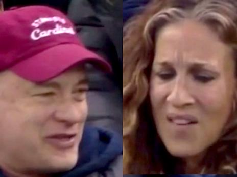 Sarah Jessica Parker gave Tom Hanks the stink eye at a Rangers game.