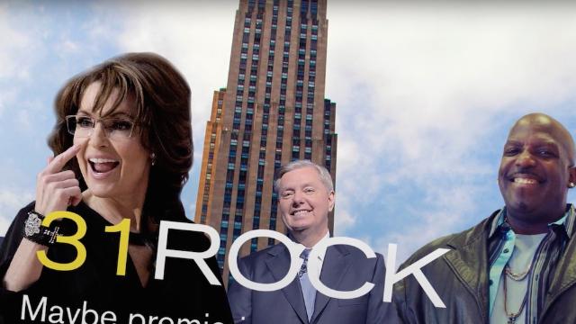 "Sarah Palin does a hilariously bad Tina Fey impression in ""31 Rock."" Take that, liberal media."