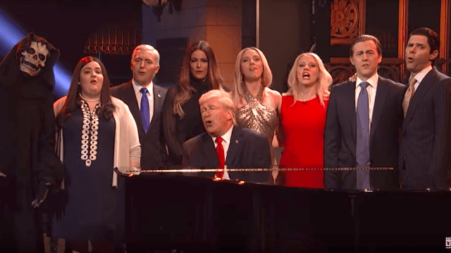 The Trump administration mourns their tough news week in a musical 'SNL' opener.