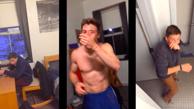 This guy's (attractive, easy-going) college roommate gets startled delightfully easily.