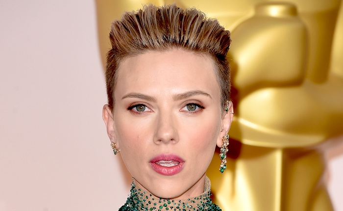 Despite the haircut, this is what ScarJo looks like when she's NOT playing a robot.